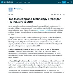 Top Marketing and Technology Trends for PR Industry in 2019: genesisbcw