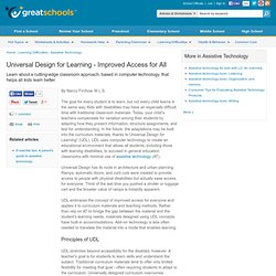 Universal Design for Learning - Improved Access for All - Assistive Technology