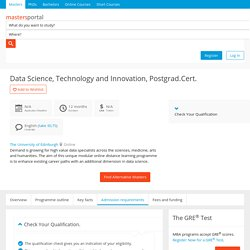 Data Science, Technology and Innovation, Postgrad.Cert. - Part time online by The University of Edinburgh, United Kingdom