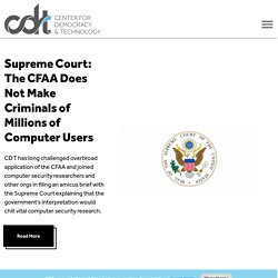 Center for Democracy & Technology | Keeping the Internet Open, I