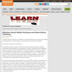 Effective Social Media Practices and Good Online Teaching