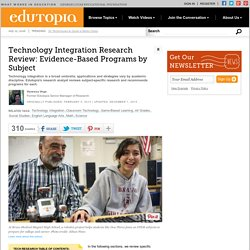 Technology Integration Research Review: Evidence-Based Programs by Subject