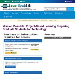 Mission Possible: Project-Based Learning Preparing Graduate Students for Technology - Learning & Technology Library (LearnTechLib)