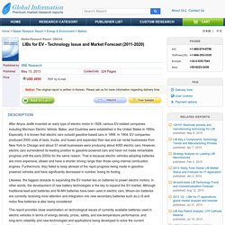 LIBs for EV - Technology Issue and Market Forecast (2011-2020)