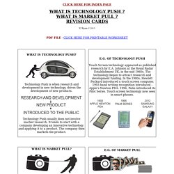 WHAT IS TECHNOLOGY PUSH ? WHAT IS MARKET PULL ? REVISION CARDS