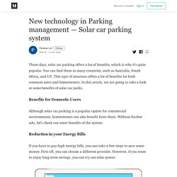 New technology in Parking management - Solar car parking system