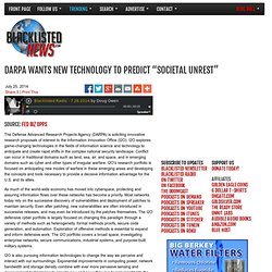 "DARPA Wants New Technology to Predict ""Societal Unrest"""