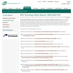 DPC Technology Watch Reports: ISSN 2048-7916
