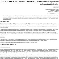 TECHNOLOGY AS A THREAT TO PRIVACY: Ethical Challenges