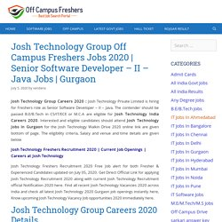 Josh Technology Group Careers 2020 Hiring Senior Software Developer Jobs