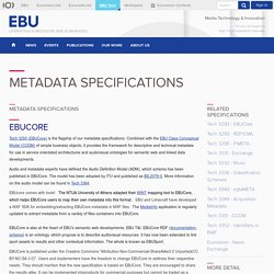 EBU Technology & Innovation - Metadata Specifications