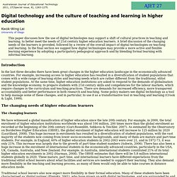 AJET 27(8) Lai (2011) - Digital technology and the culture of teaching and learning in higher education