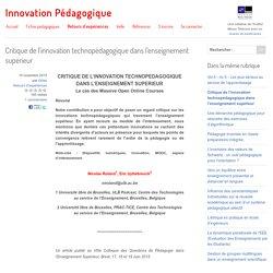 Critique de l'innovation technopédagogique dans l'enseignement supérieur