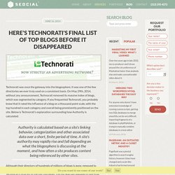 Here's Technorati's Final List of Top Blogs Before it Disappeared