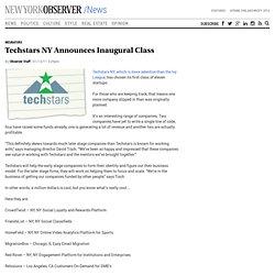 Techstars NY Announces Inaugural Class