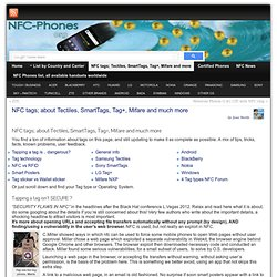 NFC tags; Tectiles, SmartTags, Tag+, Mifare and much more