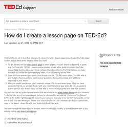 How do I create a lesson page on TED-Ed?