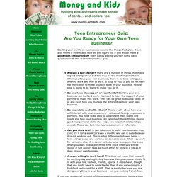 Teen Entrepreneur Quiz: Is There an Entrepreneur in You?