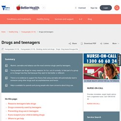 Drugs - teenagers - Better Health Channel
