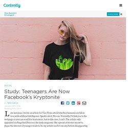 Study: Teenagers Are Now Facebook's Kryptonite