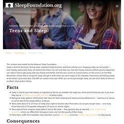 Sleep for Teenagers - National Sleep Foundation