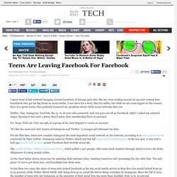 Teens Are Leaving Facebook For Facebook