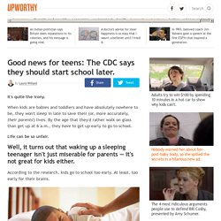 Good news for teens: The CDC says they should start school later.