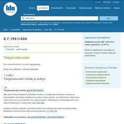 Tekijänoikeuslaki 404/1961 - Ajantasainen lainsäädäntö - FINLEX ®