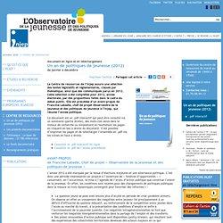 document en ligne et en téléchargement, Un an de politiques de jeunesse (2012), de janvier à décembre