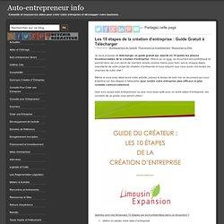 Les 10 étapes de la création d'entreprise : Guide Gratuit à Télécharger