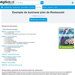 Business plan d'un restaurant, mémoire marketing à télécharger gratuitement