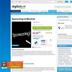 Sponsoring et Mécénat, exposé à télécharger gratuitement
