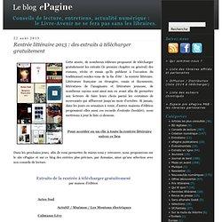 Rentrée littéraire 2013 : des extraits à télécharger gratuitement