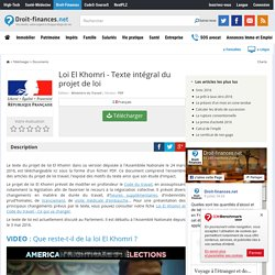 Télécharger Loi El Khomri - Texte intégral du projet de loi (gratuit)