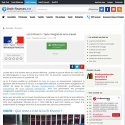 Télécharger Loi El Khomri - Texte intégral de la loi travail (gratuit)