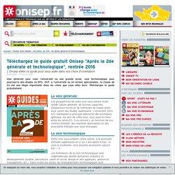 """Guide Onisep """"Après la 2de générale et technologique"""", rentrée 2016"""