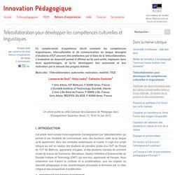 Télécollaboration pour développer les compétences culturelles et linguistiques