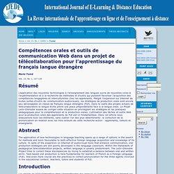 Compétences orales et outils de communication web dans un projet de télécollaboration pour l'apprentissage du français langue étrangère