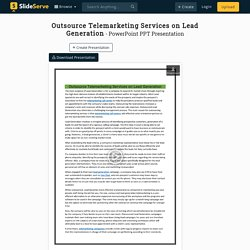 Outsource Telemarketing Services on Lead Generation PowerPoint Presentation - ID:10017871