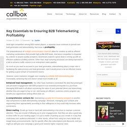 Key Essentials to Ensuring B2B Telemarketing Profitability