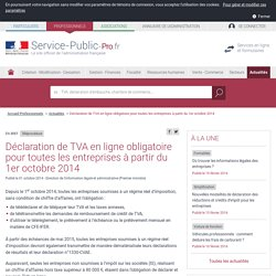 Transmission de la déclaration de TVA depuis 01/10/2014