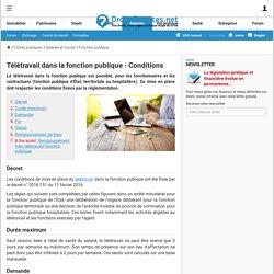 Télétravail dans la fonction publique - Conditions - Droit-Finances