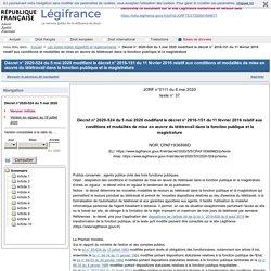 2020-524 du 5 mai 2020 modifiant le décret n° 2016-151 du 11 février 2016 relatif aux conditions et modalités de mise en œuvre du télétravail dans la fonction publique et la magistrature