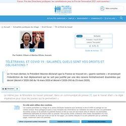 Télétravail et Covid 19 : salariés, quels sont vos droits et obligations ? Par Frédéric Chhum et Marilou Ollivier, Avocats.