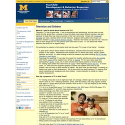 Television (TV) and Children: Your Child: University of Michigan Health System