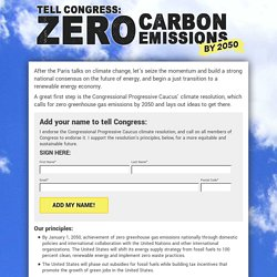 Tell Congress: Zero carbon emissions by 2050