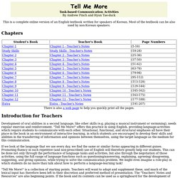 Tell Me More - Table of Contents
