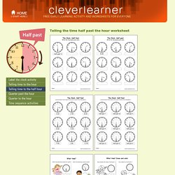 Tell the time half past the hour activity worksheet