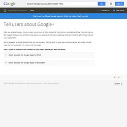 Tell users about Google+ - Google Apps Help