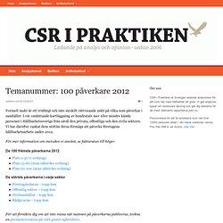 De påverkar företagens hållbarhetsarbete mest under 2012